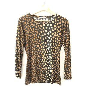 Samantha Sung Sz 8 polka dot wool silk blouse